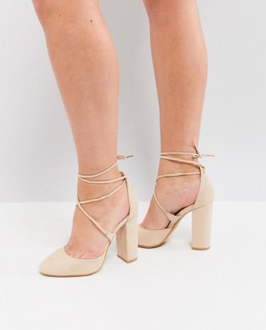 Fashion Shop - Truffle Collection Tie Up Block Heel Shoe - Beige