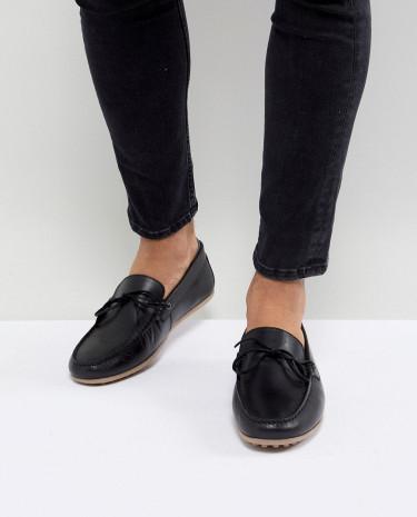 Fashion Shop - Walk London Albert Leather Drivers In Black - Black