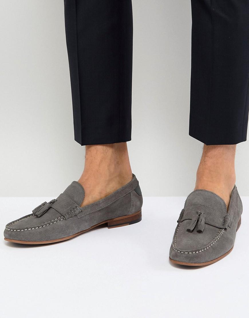 Fashion Shop - Walk London Will Suede Tassel Loafers In Grey - Grey