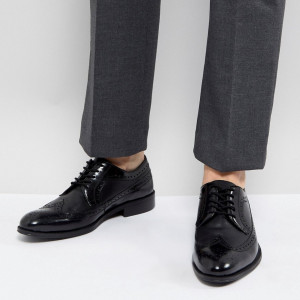 Fashion Shop - Zign Leather Brogue Shoes In Black - Black