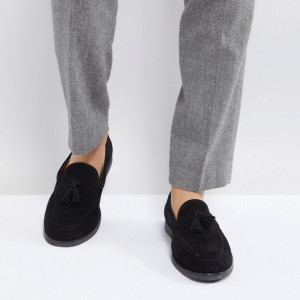 Fashion Shop - Zign Suede Tassel Loafers In Black - Black