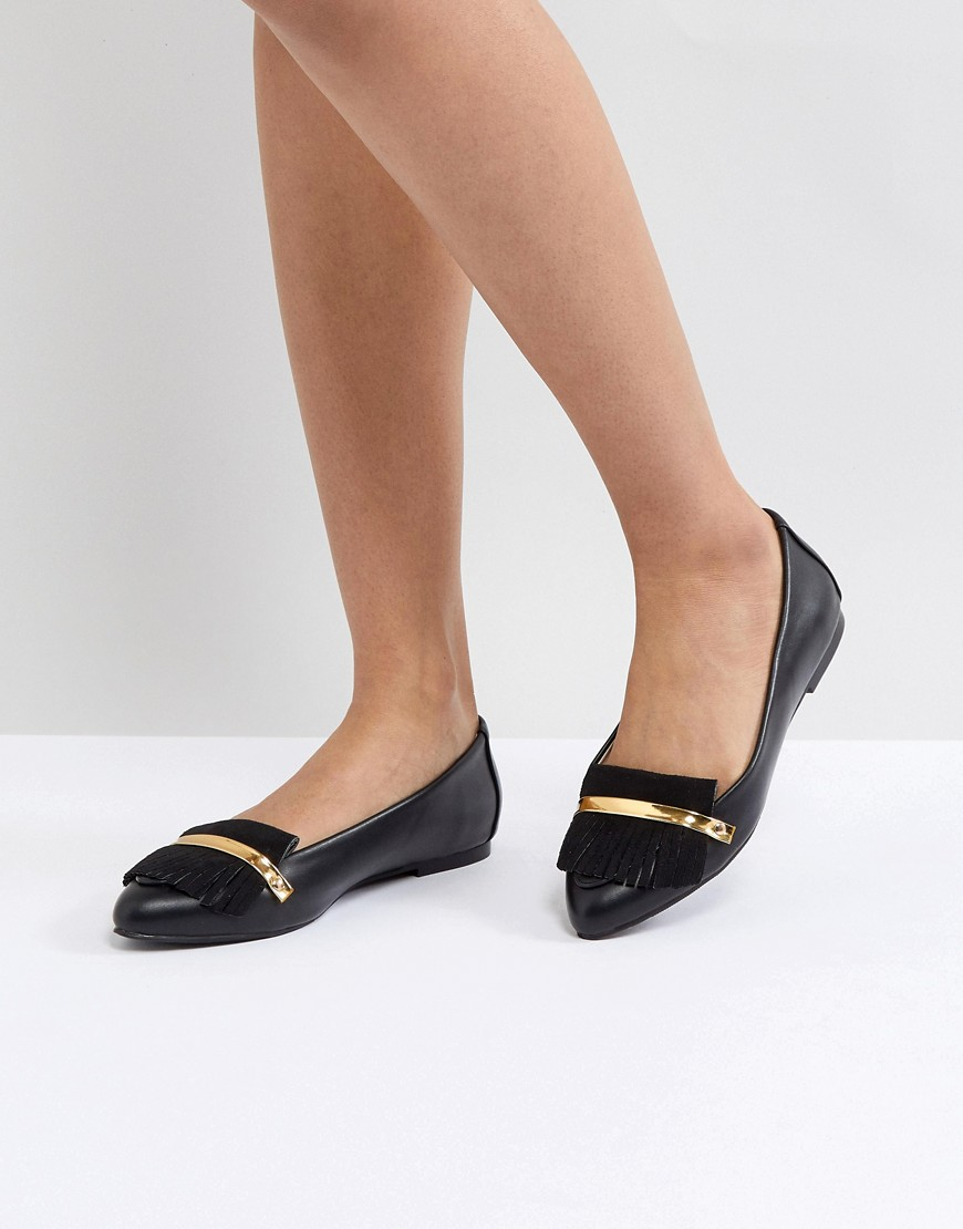 Fashion Shop - London Rebel Metal Bar Flat Shoe - Black