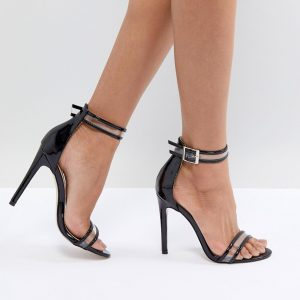 Fashion Shop - Public Desire Aurelia Black Clear Strap Sandals - Black