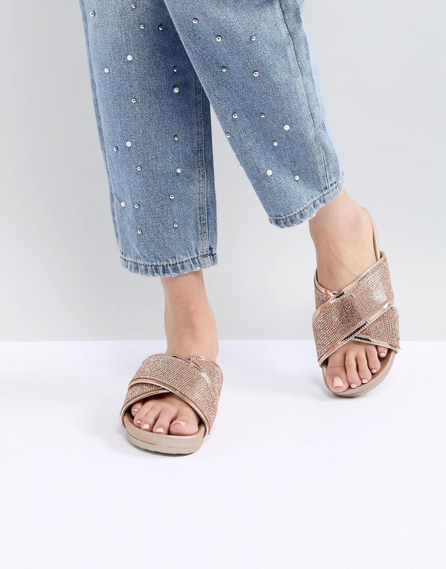 Fashion Shop - Public Desire Envy Rose Gold Glitter Cross Front Sandals - Gold