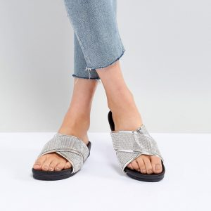 Fashion Shop - Public Desire Envy Silver Glitter Cross Front Sandals - Silver