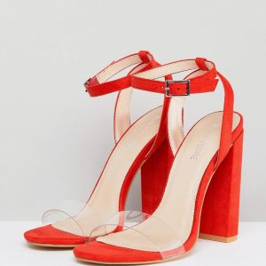 Fashion Shop - Public Desire Natasa Orange Block Heeled Sandals - Orange