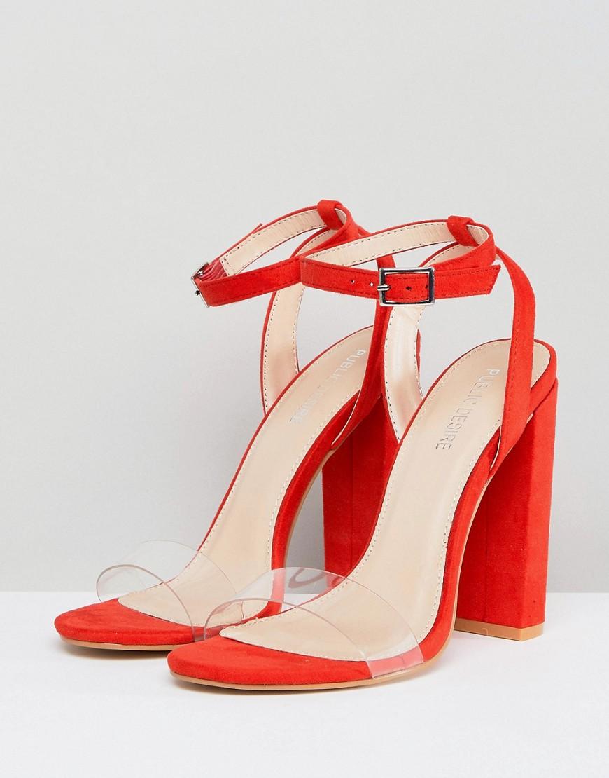 Fashion Shop - Public Desire Natasa Orange Block Heeled Sandals - Orange