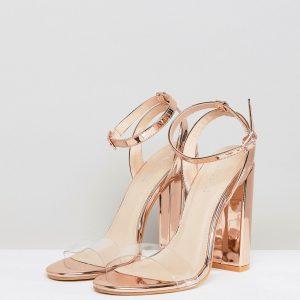 Fashion Shop - Public Desire Natasa Rose Gold Block Heeled Sandals - Gold