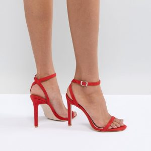 Fashion Shop - Public Desire Notion Red Barely There Heeled Sandals - Red