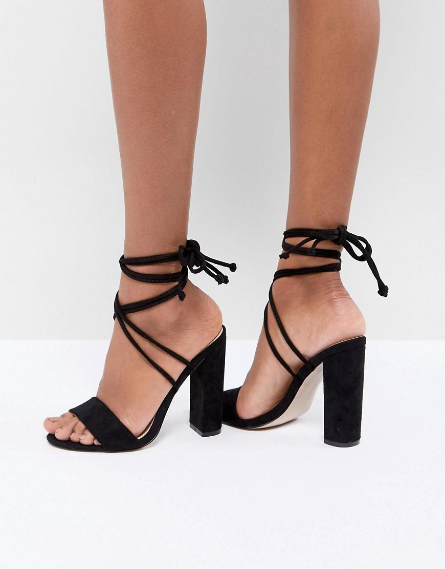 Fashion Shop - Public Desire Suzu Black Tie Up Block Heeled Sandals - Black