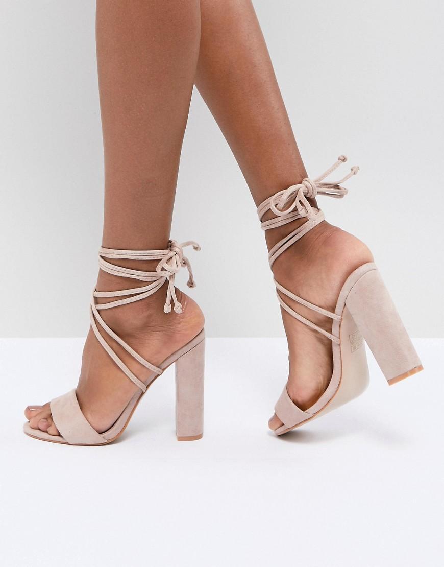 Fashion Shop - Public Desire Suzu Tie Up Block Heeled Sandals - Beige