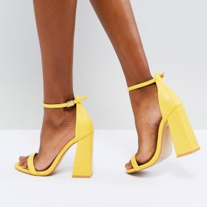Fashion Shop - Public Desire Tess Yellow Block Heeled Sandals - Yellow
