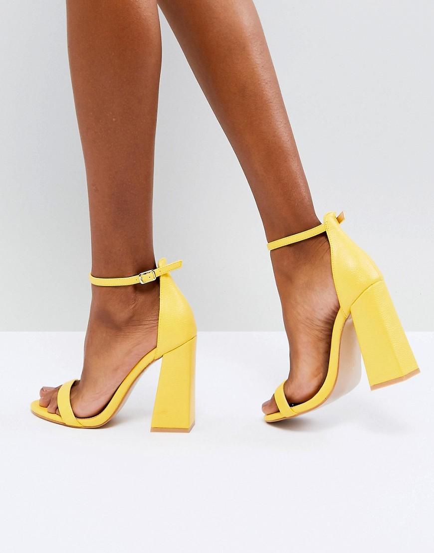Fashion Shop - Public Desire Tess Yellow Block Heeled Sandals - Yellow