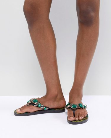 Fashion Shop - River Island Printed Embellished Thongs - Black
