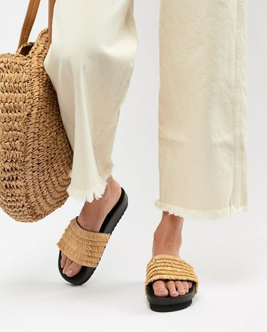 Fashion Shop - Sixty Seven Flatform Sliders - Beige