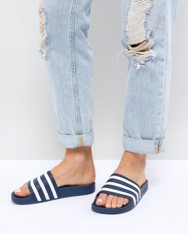 Fashion Shop - adidas Originals Adilette Slider Sandals In Navy And White - Navy