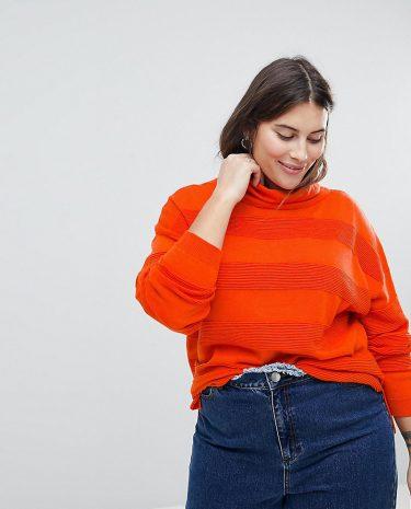 Fashion Shop - ASOS CURVE Jumper with High Neck and Stripe Ripple Stitch - Orange