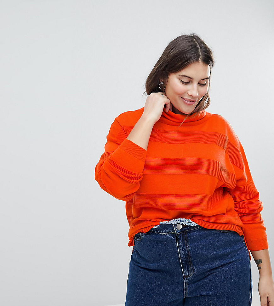 Fashion Shop - ASOS CURVE Jumper with High Neck and Stripe Ripple Stitch - Orange