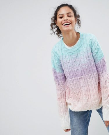Fashion Shop - ASOS Chunky Jumper In Ombre - Multi