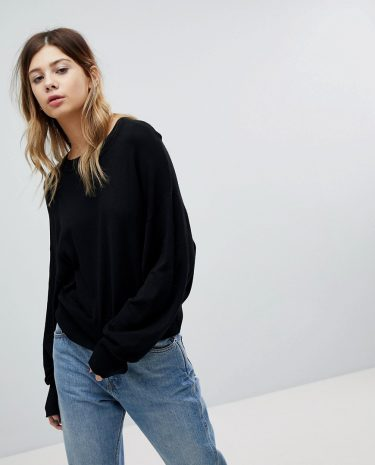 Fashion Shop - ASOS Cropped Jumper with Wide Sleeve - Black