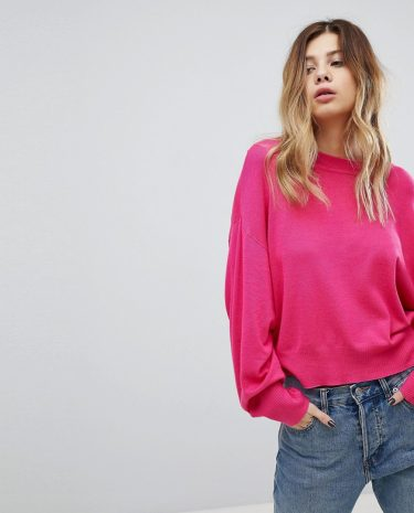 Fashion Shop - ASOS Cropped Jumper with Wide Sleeve - Pink