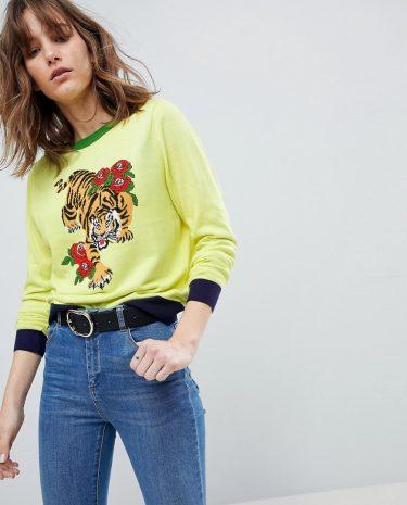 Fashion Shop - ASOS DESIGN jumper with tiger motif - Multi