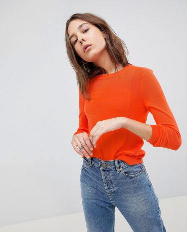 Fashion Shop - ASOS Jumper With Crew And Panel Detail - Orange