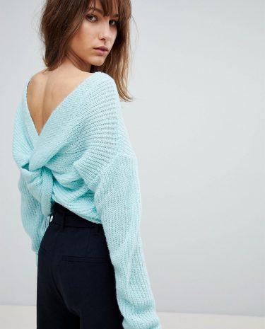 Fashion Shop - ASOS Jumper With Twist Back - Blue