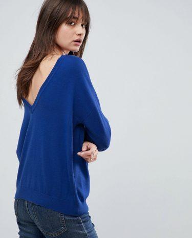 Fashion Shop - ASOS Jumper With V Back Detail - Blue