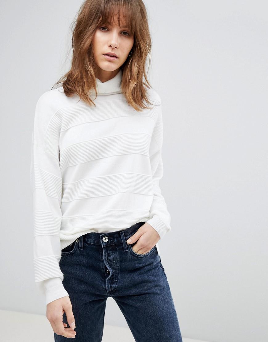 Fashion Shop - ASOS Jumper with High Neck and Stripe Ripple Stitch - Cream