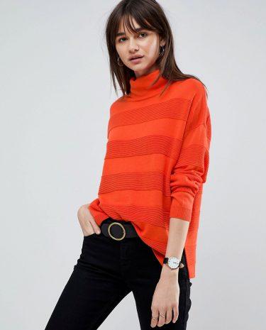 Fashion Shop - ASOS Jumper with High Neck and Stripe Ripple Stitch - Orange
