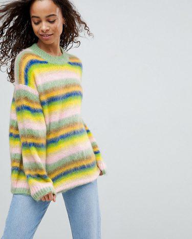 Fashion Shop - ASOS PETITE Oversized Jumper Fluffy Rainbow Stripe - Multi
