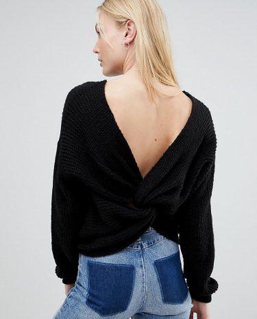 Fashion Shop - ASOS TALL Jumper With Twist Back - Black