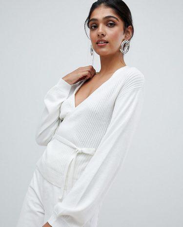 Fashion Shop - ASOS TALL Jumper in Rib with Wrap Detail - Cream