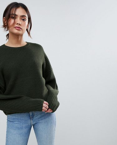 Fashion Shop - ASOS Tall Chunky Jumper In Crop With Volume Sleeve - Green
