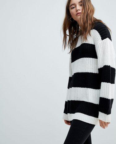 Fashion Shop - Bershka Stripe Longline Knitted Jumper - Multi