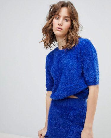 Fashion Shop - E.L.K Crop T-Shirt In Fluffy Knit Co-Ord - Blue