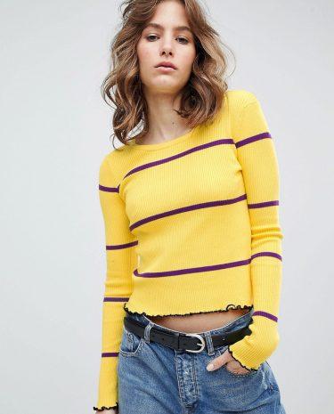 Fashion Shop - E.L.K Jumper With Crinkle Hem In Fine Stripe - Yellow