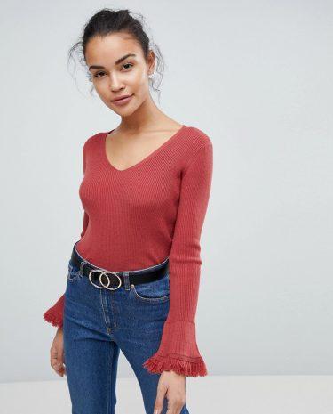 Fashion Shop - Fashion Union Flare Sleeve V Neck Jumper With Fringe Sleeves - Beige