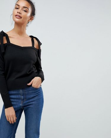Fashion Shop - Fashion Union Knit Cold Shoulder Jumper With Tie Sleeve Detail - Black