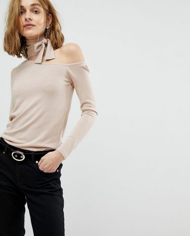 Fashion Shop - Lost Ink Slim Jumper With Cut Out Collar And Tie Neck - Beige