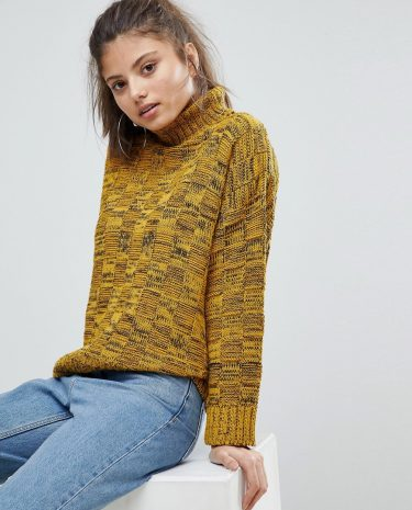Fashion Shop - Missguided High Neck Knitted Jumper - Yellow