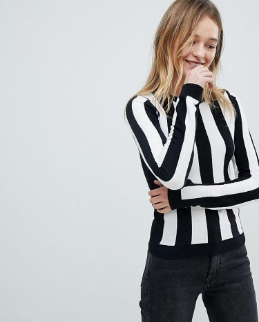 Fashion Shop - Monki Colour Stripe Knitted Jumper - Black