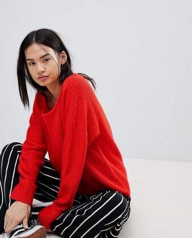 Fashion Shop - Noisy May Off The Shoulder Jumper - Red