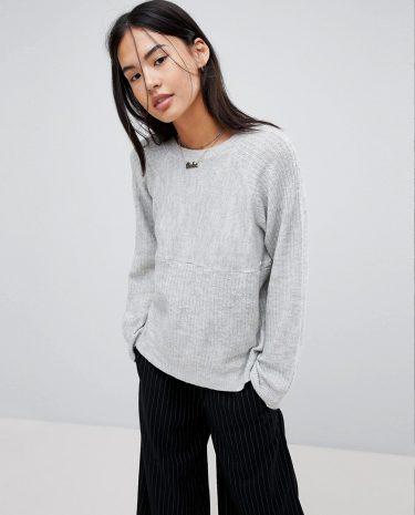 Fashion Shop - Noisy May Ribbed Jumper - Grey