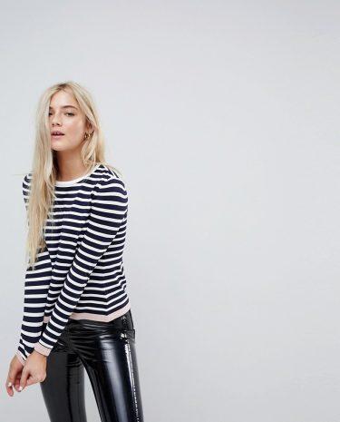 Fashion Shop - Only Stripe Knit With Contrast Hem - Multi