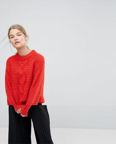 Fashion Shop - Selected Femme Cable Knit Jumper - Red