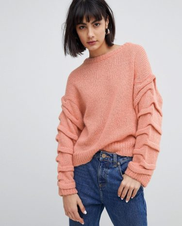 Fashion Shop - Selected Femme Knitted Jumper With Sleeve Detail - Pink