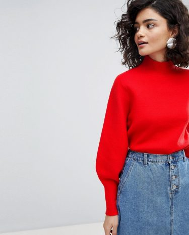 Fashion Shop - Selected Femme Long Sleeve Knit Jumper - Red