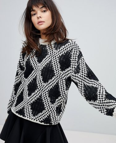 Fashion Shop - Willow And Paige Chunky Knit Jumper With Contrast Pattern - Black
